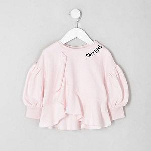 Mini - Roze sweatshirt met ruches voor meisjes