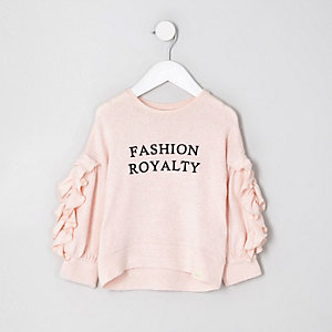 Mini girls pink flocked ruffle sleeve top