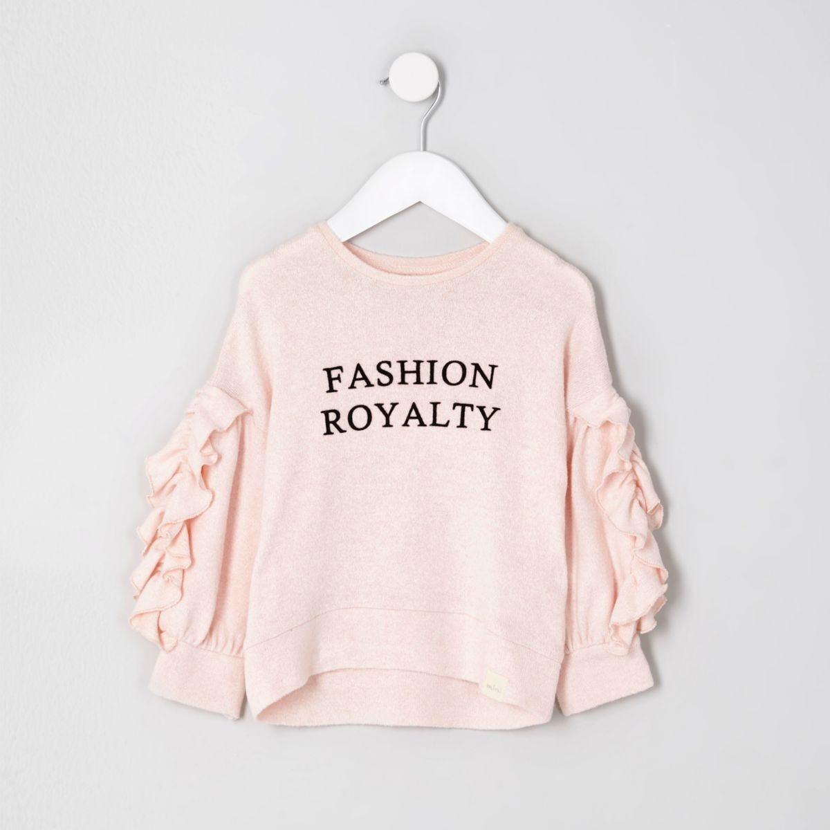 Mini girls pink flocked ruffle sleeve top