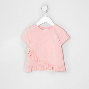 Mini girls pink 'amour' chest print T-shirt