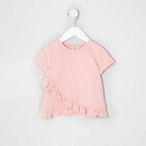 Mini girls pink 'amour' chest print T-shirt