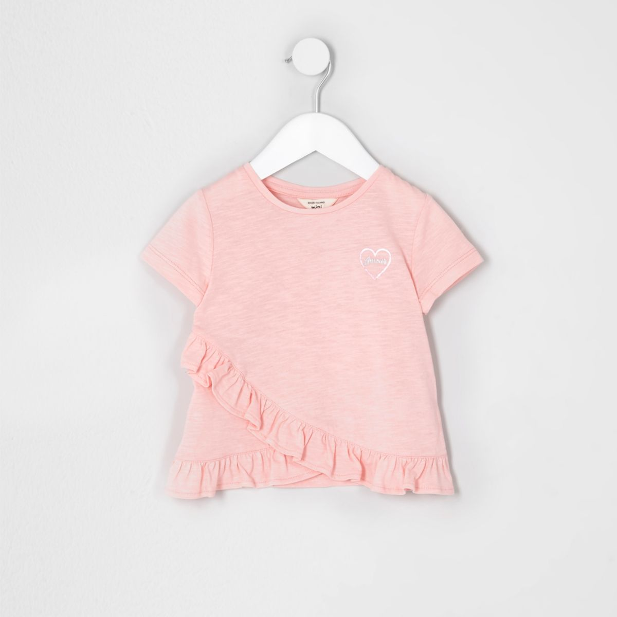 T-shirt imprimé «amour» sur la poitrine rose mini fille