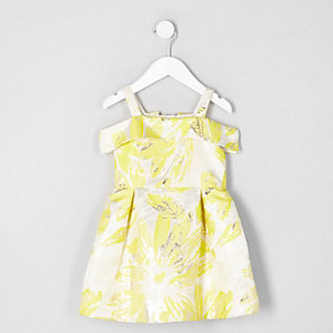 Mini girls yellow jacquard bardot prom dress
