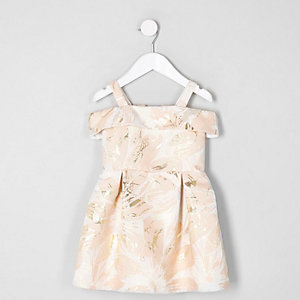 Mini girls pink jacquard bardot prom dress
