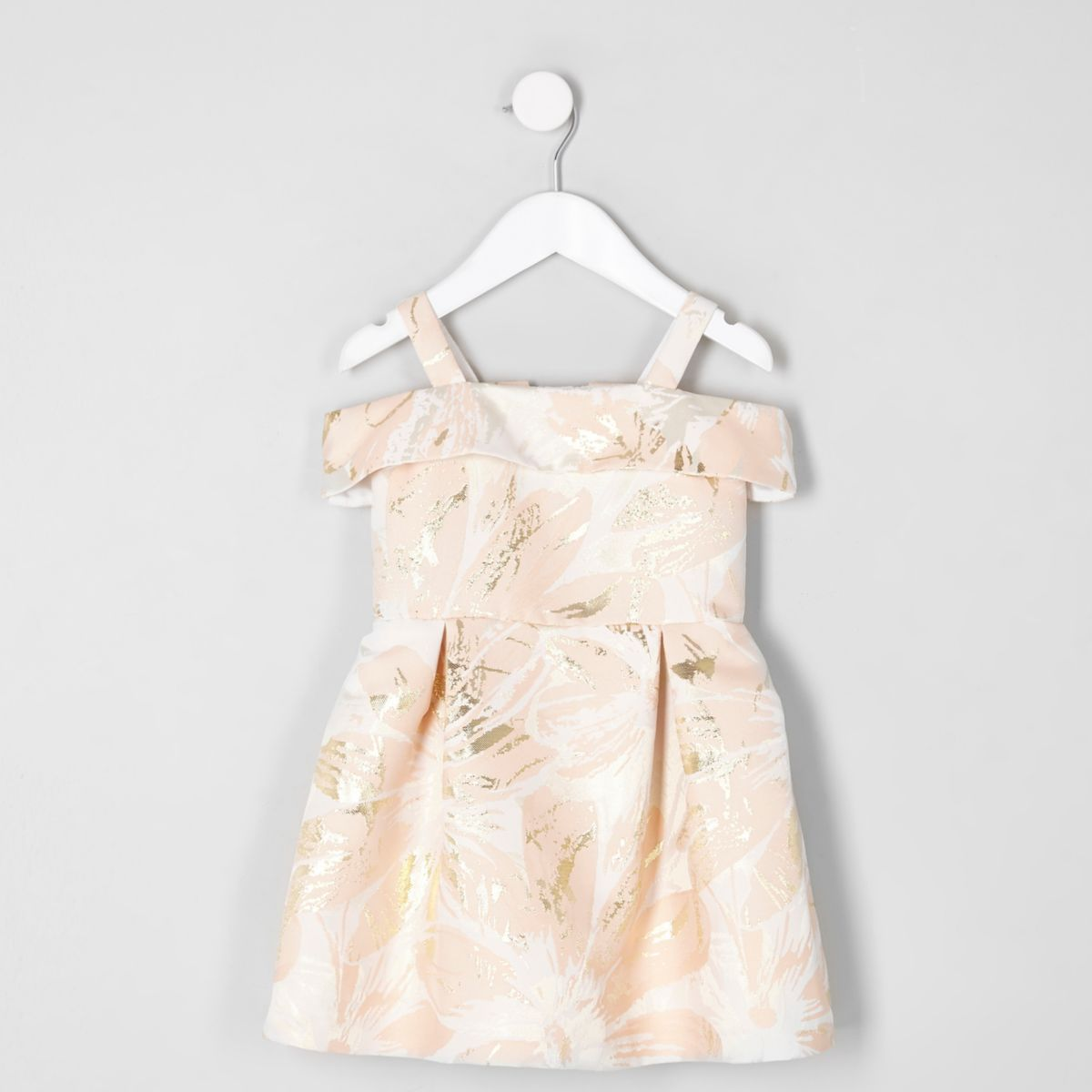 Mini girls pink jacquard bardot prom dress