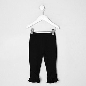 Mini girls black frill flute hem leggings