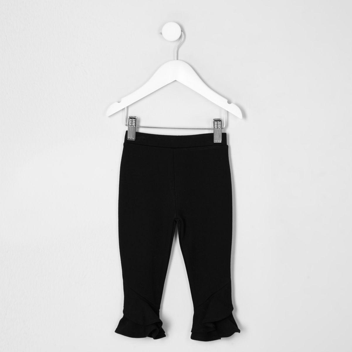 Mini girls black frill flute hem leggings