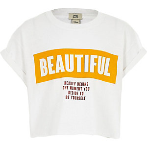 T-shirt court imprimé « beautiful » blanc pour fille