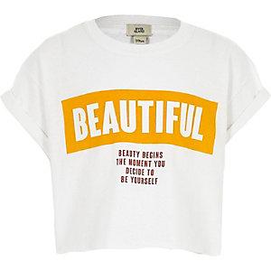 T-shirt court imprimé «beautiful» blanc pour fille