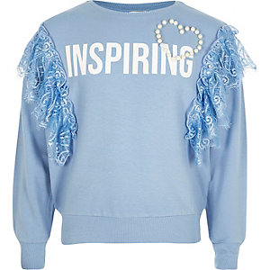 Girls blue 'inspiring' frill lace sweatshirt