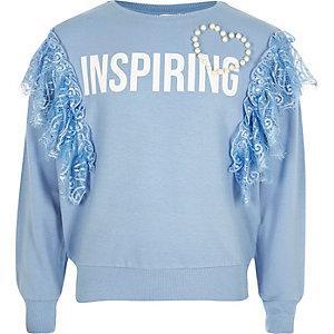 Blauw sweatshirt met 'inspiring'-print, kant en ruches voor meisjes
