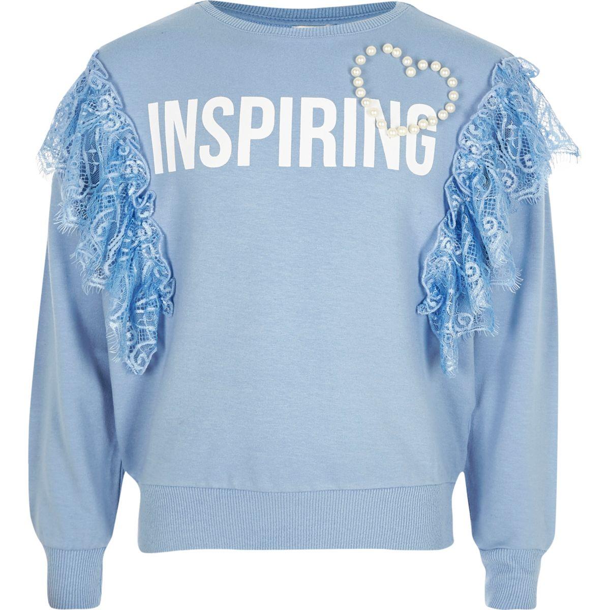 Girls blue 'inspiring' frill lace sweatshirt