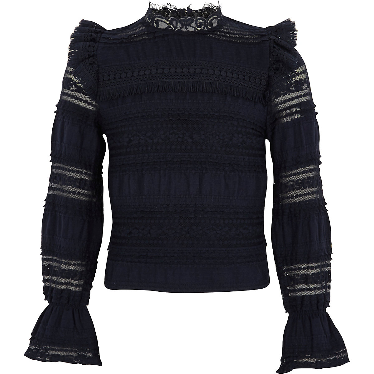 Girls navy lace fringed high neck top