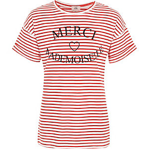 Girls red stripe 'merci' print T-shirt