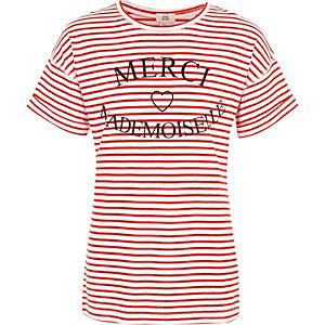 Girls red stripe 'merci' print T-shirt