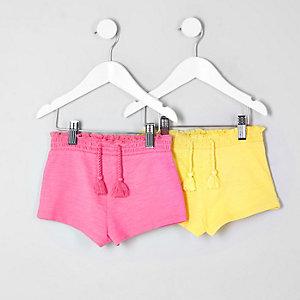 Mini - Multipack roze en blauwe shorts voor meisjes