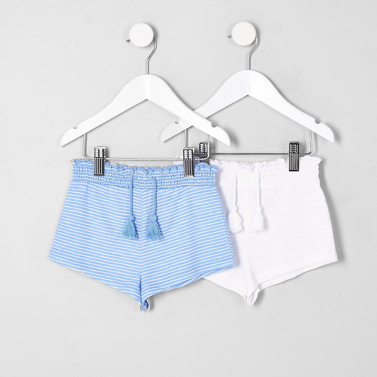 Mini girls blue stripe shorts multipack