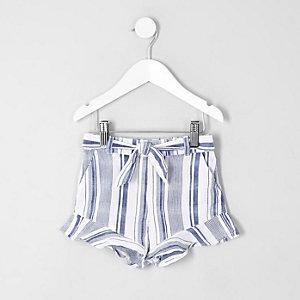 Mini girls blue stripe frill hem shorts