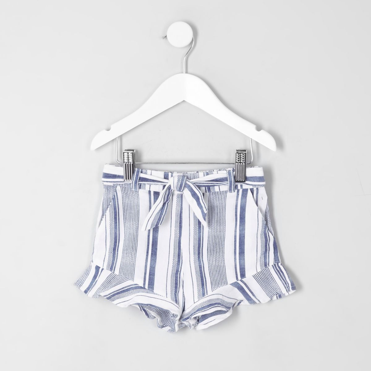 Mini girls blue stripe frill hem shorts