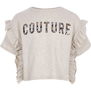 """T-Shirt mit """"Couture""""-Print in Creme meliert"""
