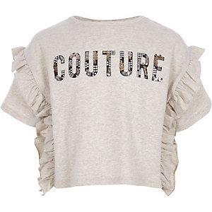 Crème gemêleerd T-shirt met 'couture'-print en ruches voor meisjes