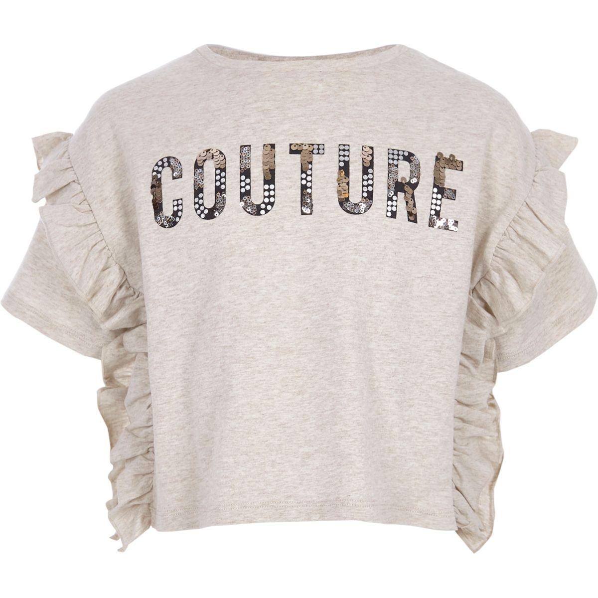 Girls cream marl 'couture' frill T-shirt