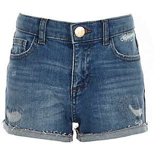 Girls Bella tape side denim boyfriend shorts
