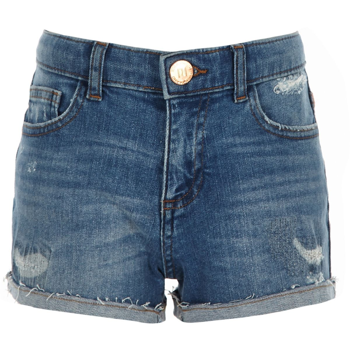 Girls Bella tape side denim boyfriend shorts