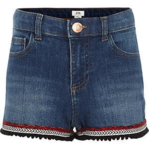 Short en denim bleu à bordure aztèque pour fille