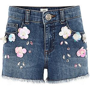 Jeansshorts mit Blumenverzierung