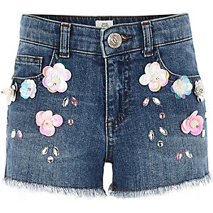 Girls flower embellished denim shorts