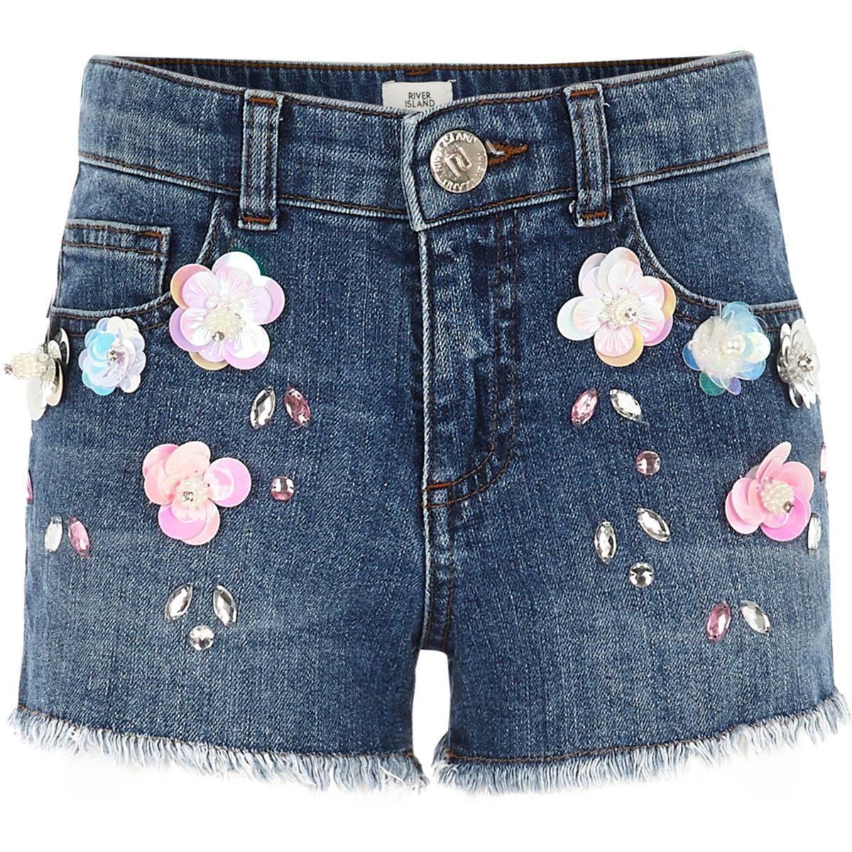 Girls flower embellished denim shorts