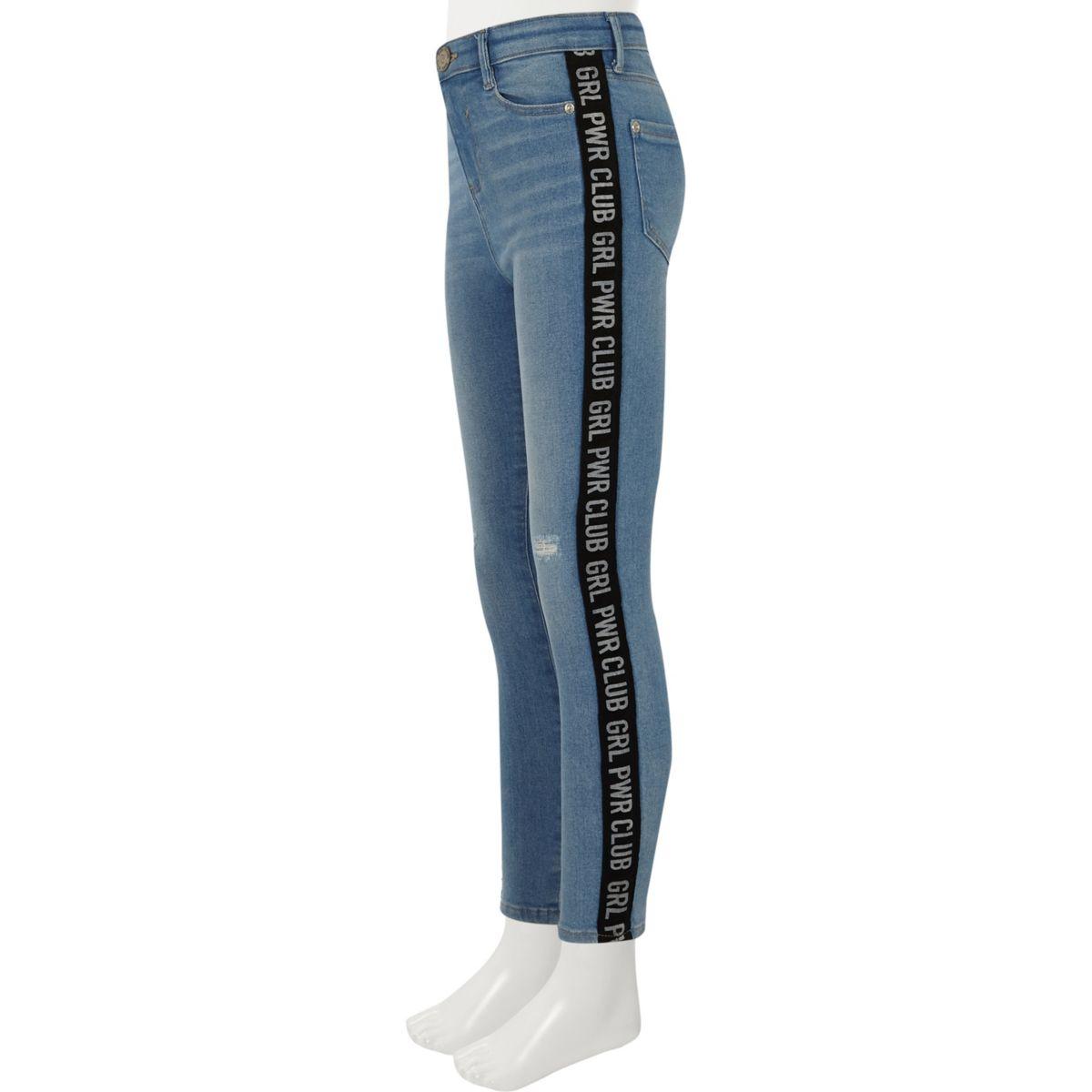 Girls blue Amelie tape side skinny jeans