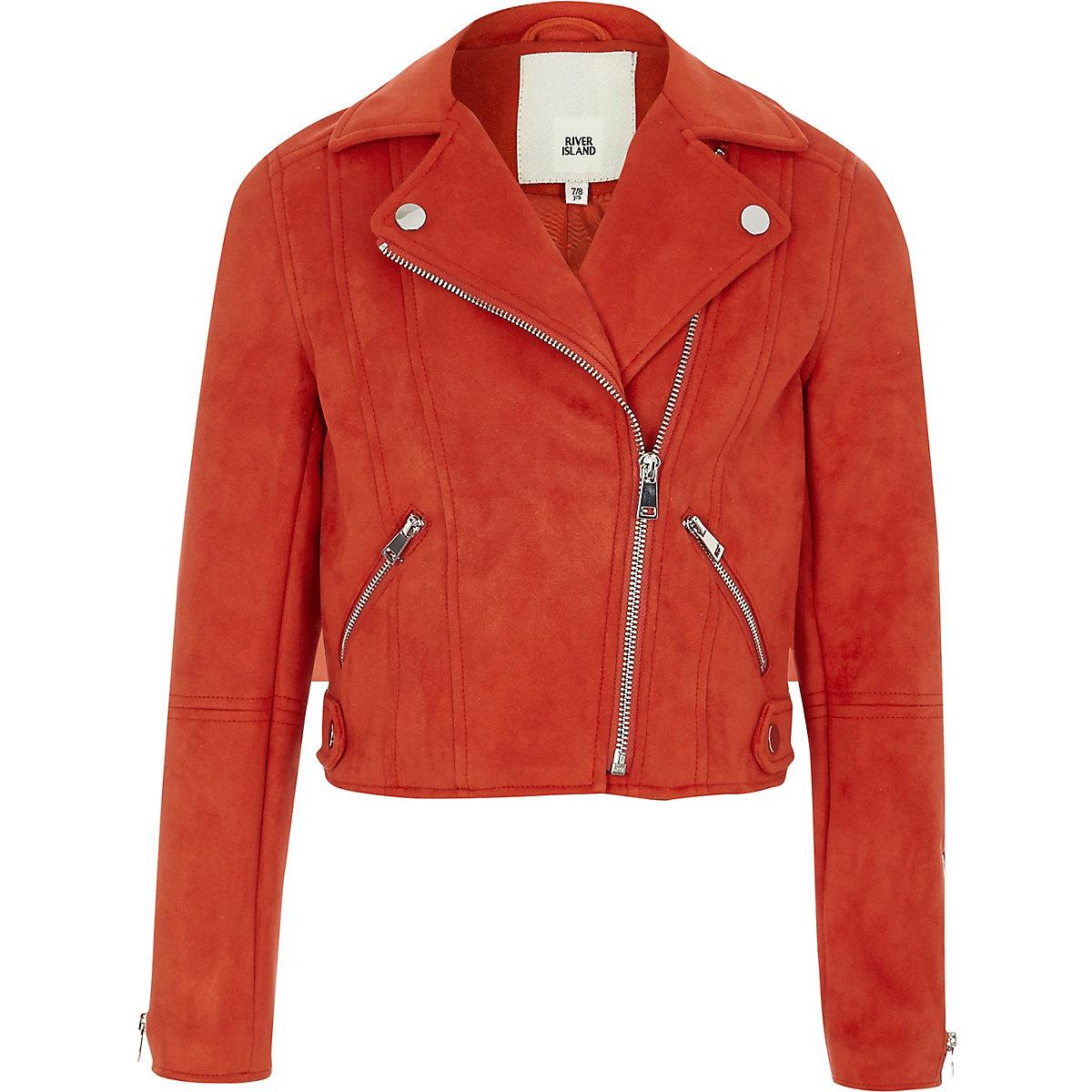 Girls red faux suede biker jacket