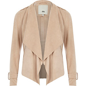 Girls beige fallaway collar faux suede jacket