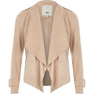 Beige imitatiesuède jasje met gedrapeerde kraag voor meisjes