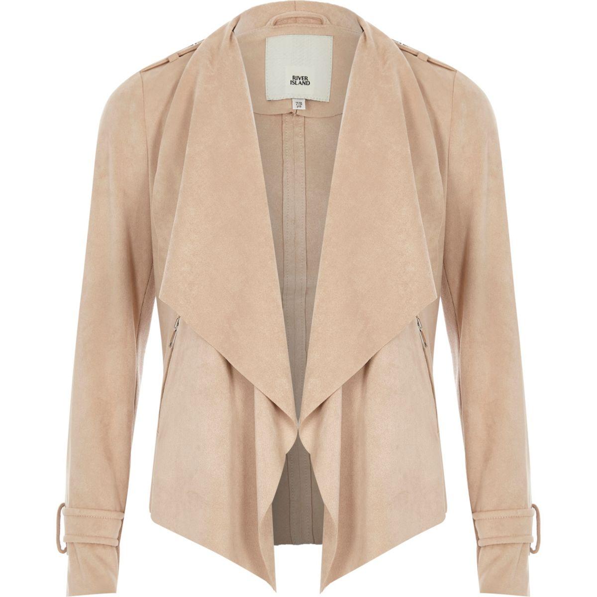 Girls beige fallaway collar faux suede jacket
