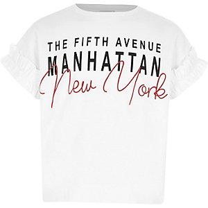 Wit T-shirt met 'New York'-print en ruches aan de mouwen voor meisjes