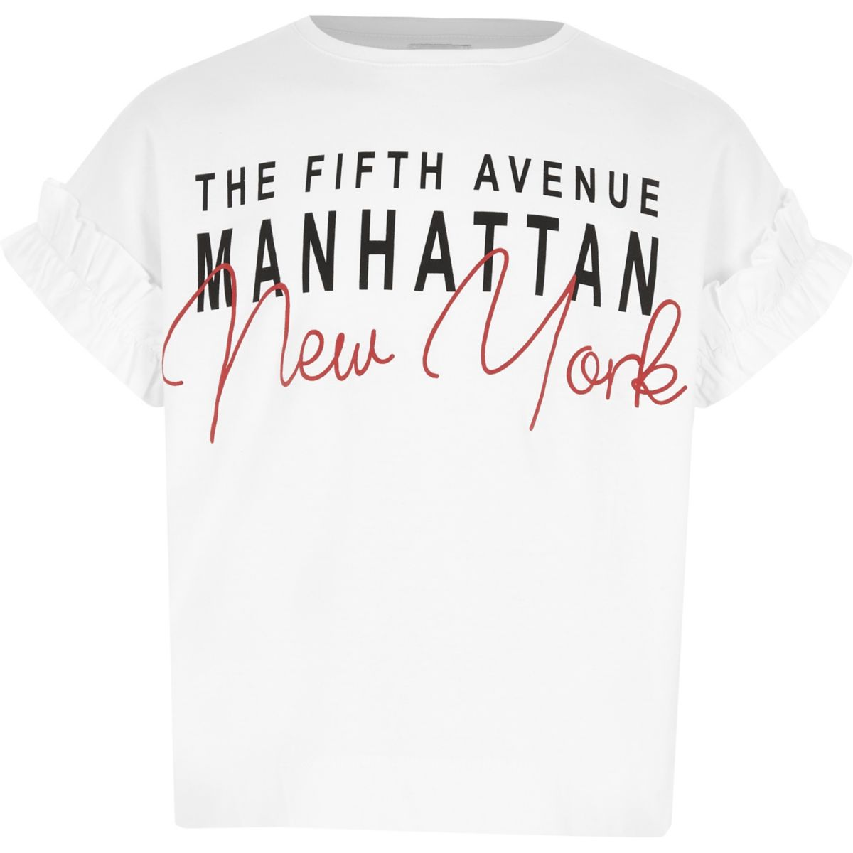 Girls white 'New York' frill sleeve T-shirt