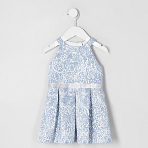 Robe de gala en jacquard bleu mini fille