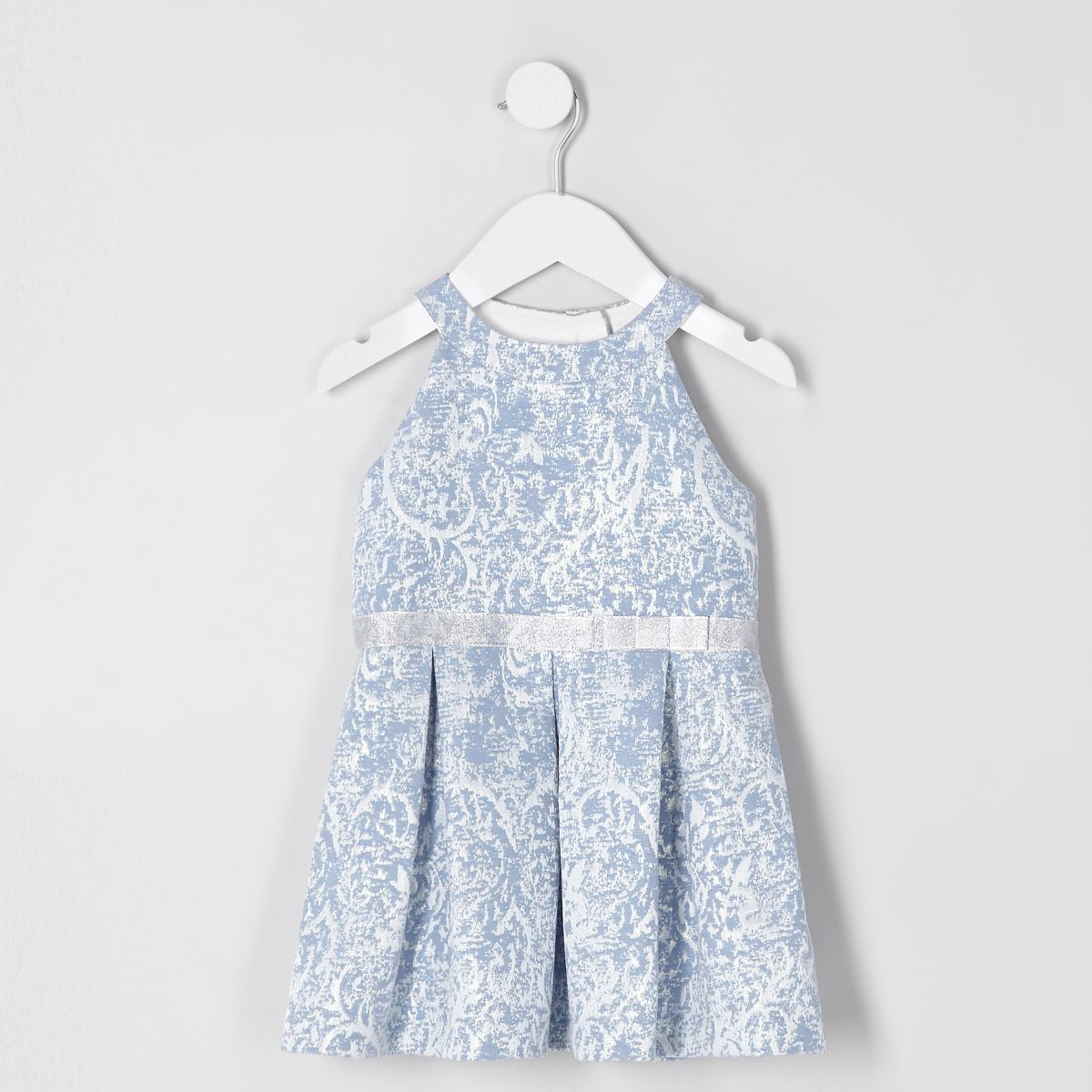 Mini girls blue jacquard prom dress