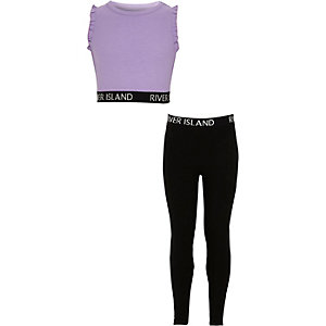RI – Lila Outfit aus Crop Top und Leggings