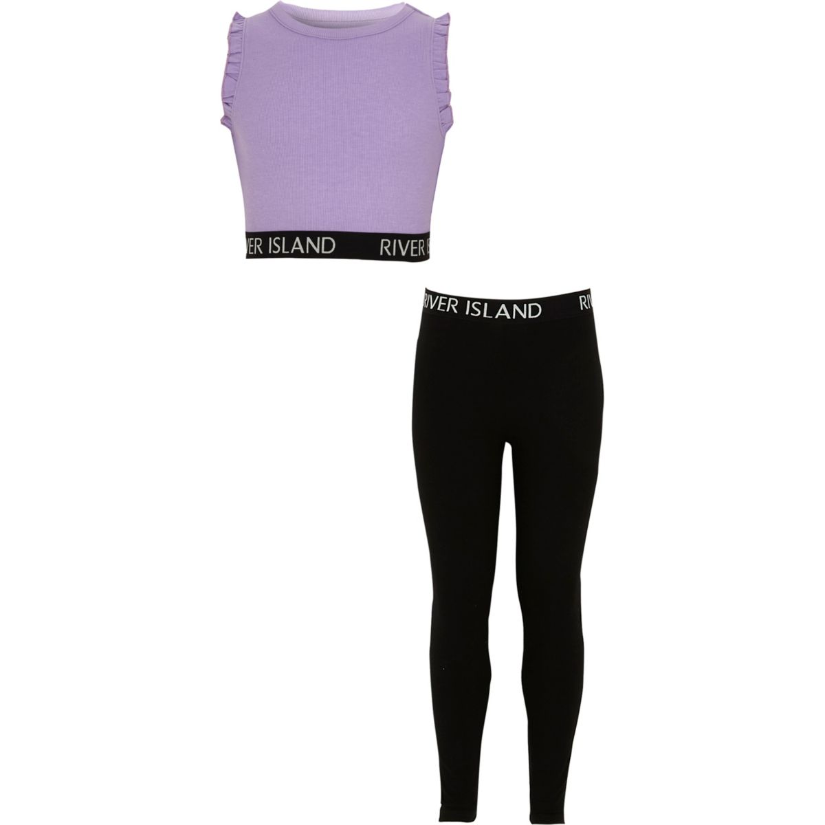 Girls RI purple crop top and leggings outfit
