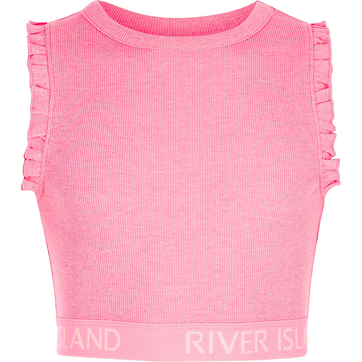 Girls pink rib RI hem frill sleeve crop top