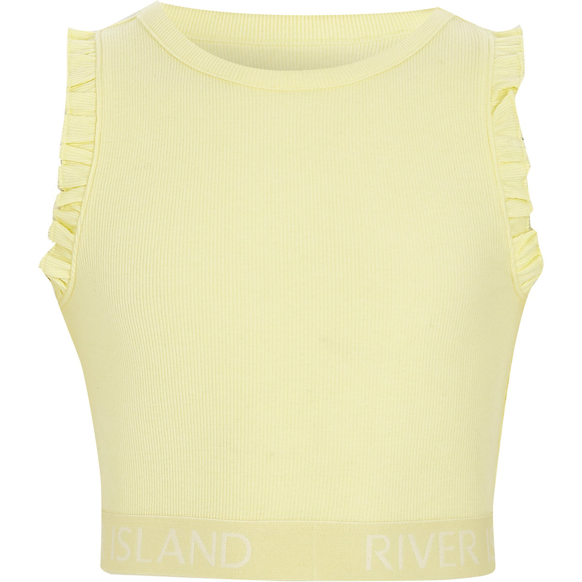 Girls yellow rib frill sleeve RI hem crop top