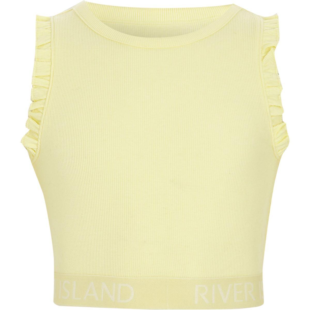 Girls yellow rib frill sleeve RI hem crop top