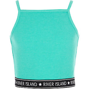 Girls turquoise rib RI hem cami crop top