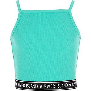 Turquoise geribbelde cami crop top met RI-logo op de zoom voor meisjes