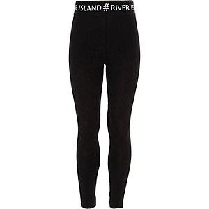 Leggings noir avec logo #RI à la taille pour fille