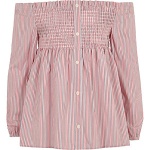 Girls pink stripe shirred bardot top